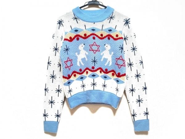 パメオポーズ 長袖セーター サイズF レディース ライトブルー×白×マルチ