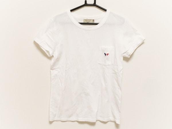 MAISON KITSUNE(メゾンキツネ) 半袖Tシャツ サイズM レディース 白×ブルー×レッド