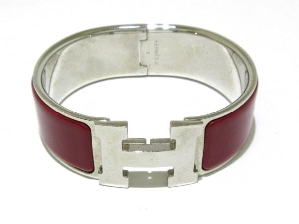 エルメス バングル クリックアッシュ 金属素材 シルバー×ボルドー シルバー金具