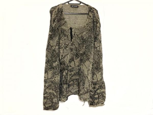 イッセイミヤケ 長袖セーター メンズ新品同様  ベージュ×黒×グレー 和紙