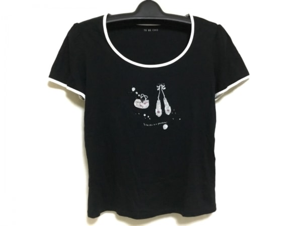 トゥービーシック 半袖Tシャツ レディース 黒×白×ピンク ラインストーン/リボン