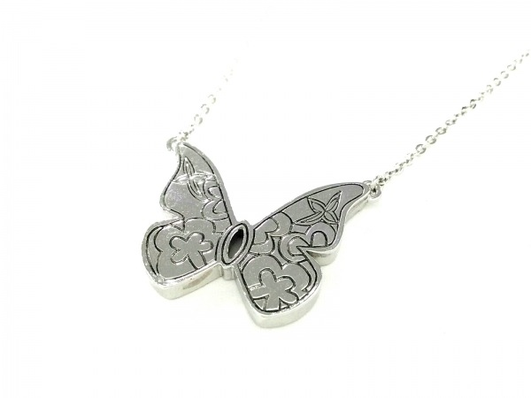 Libra(リブラ) ネックレス美品  金属素材×ラインストーン シルバー×クリア 蝶
