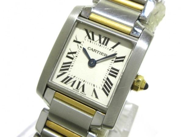 カルティエ 腕時計 タンクフランセーズSM W51007Q4 レディース K18YG×SS アイボリー