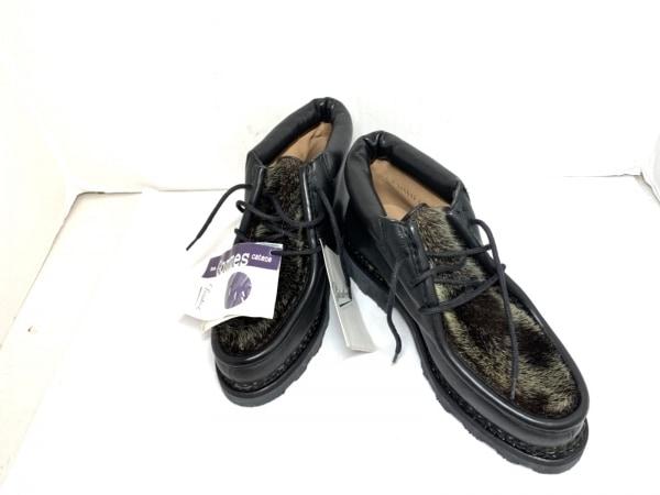 パラブーツ ショートブーツ 4 メンズ 黒×ダークブラウン×アイボリー レザー×ハラコ