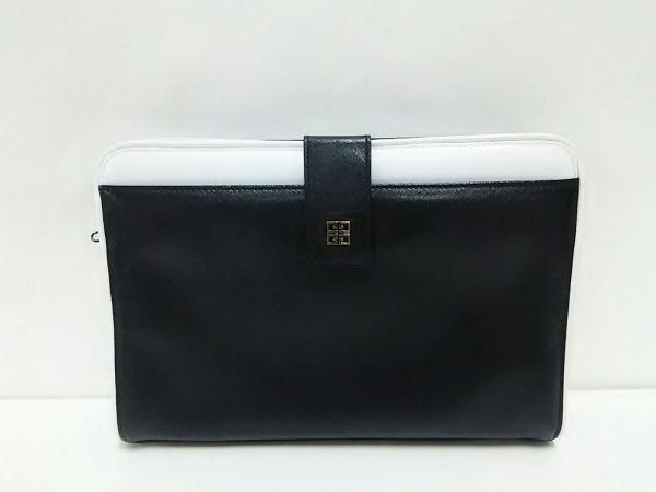 GIVENCHY SACS(ジバンシー) クラッチバッグ美品  黒×アイボリー レザー