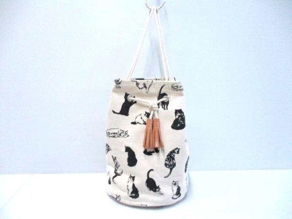 TEMBEA(テンベア) バッグ アイボリー×黒 巾着型 キャンバス
