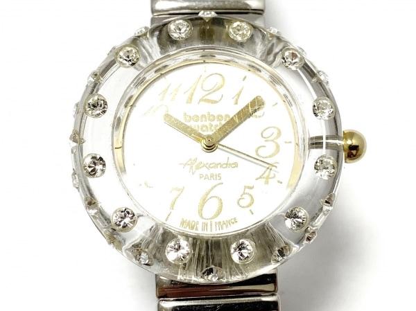 ボンボンウォッチ 腕時計 - レディース ラインストーンベゼル/裏スケ/蛇腹ベルト 白