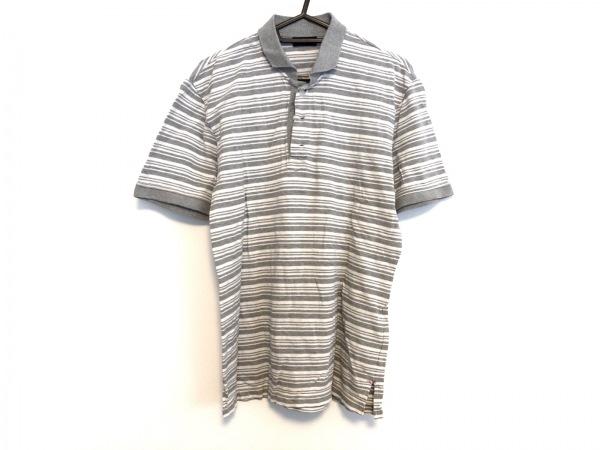 ジョセフオム 半袖ポロシャツ サイズ48 XL メンズ美品  グレー×白 ボーダー