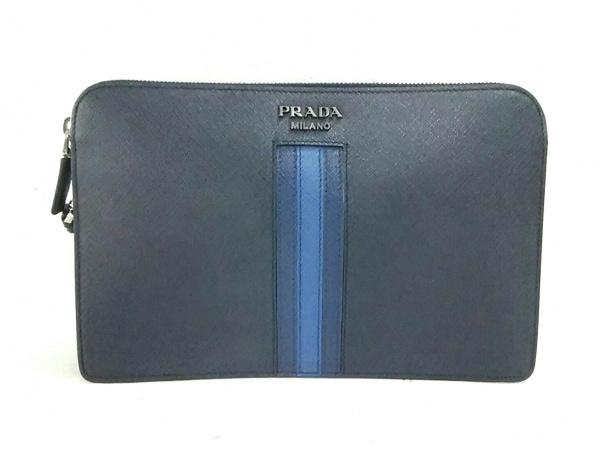 PRADA(プラダ) セカンドバッグ美品  - ネイビー×ブルー レザー