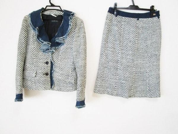 インゲボルグ スカートスーツ サイズL レディース 白×ダークネイビー フリル/デニム