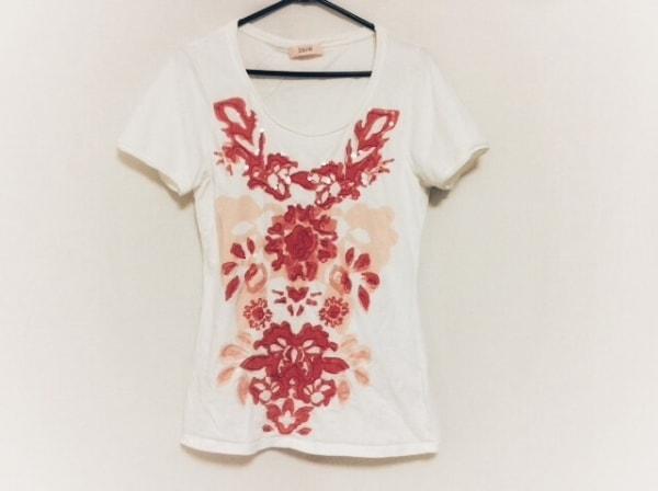 ローレル チュニック サイズ42 L レディース美品  白×ピンク 花柄/スパンコール