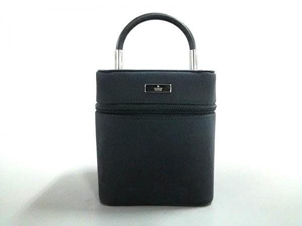 GUCCI(グッチ) バニティバッグ - 0391052 黒×シルバー ジャガード×レザー×金属素材