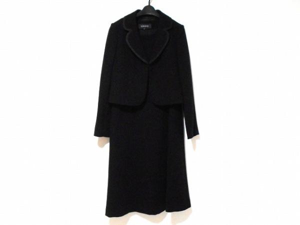 ソワールベニール ワンピーススーツ サイズ13 L レディース美品  黒 リボン