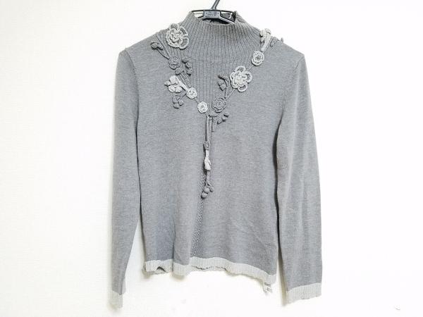 インゲボルグ 長袖セーター サイズ9 M レディース グレー×ライトグレー フラワー