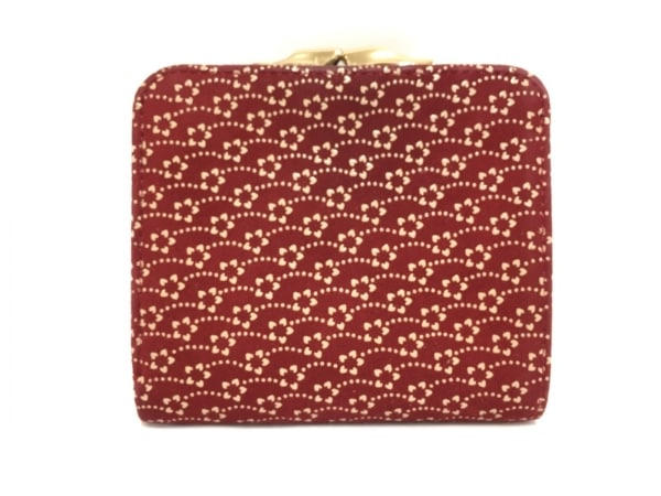 印傳屋(インデンヤ) 2つ折り財布 レッド×ベージュ がま口 スエード