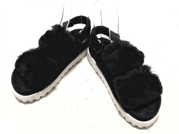 ツルバイマリコオイカワ サンダル 37 レディース 黒 ベロア×ファー