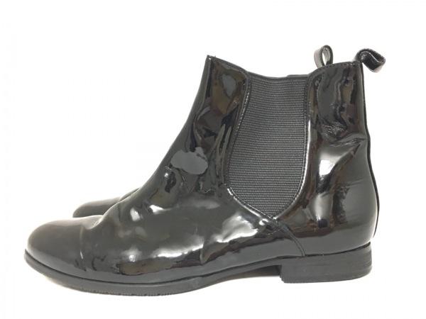 バークレー ショートブーツ 24 レディース 黒 サイドゴア エナメル(合皮)×化学繊維