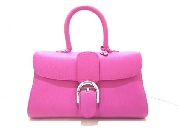 デルボー ハンドバッグ美品  ブリヨン イーストウエストミニ - ピンクパープル レザー