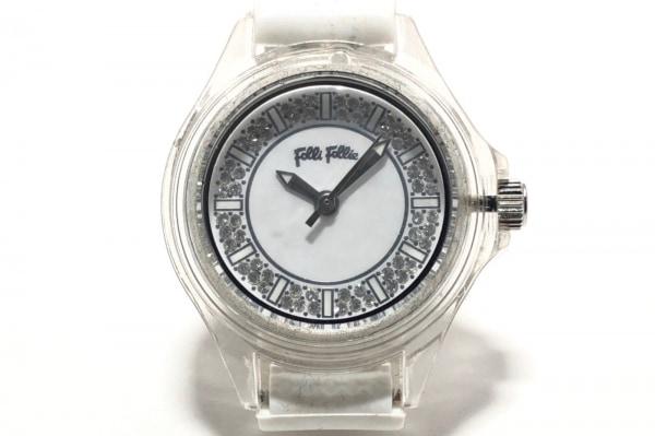 フォリフォリ 腕時計 WF2P008ZS レディース ラバーベルト/ラインストーン文字盤 白
