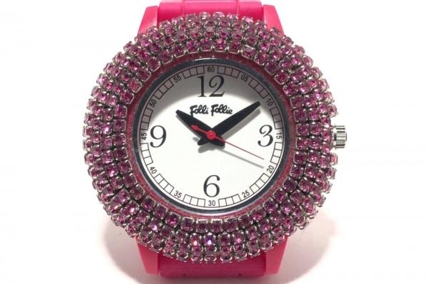 フォリフォリ 腕時計 WF1P018ZP レディース ラバーベルト/ラインストーンベゼル 白