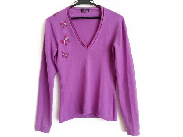 バランタイン 長袖セーター サイズ36 S レディース パープル×ピンク×マルチ