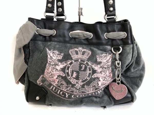 JUICY COUTURE(ジューシークチュール) トートバッグ グレー×ピンク×黒 ベロア×合皮