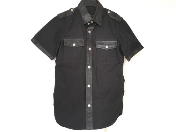 BACK BONE(バックボーン) 半袖シャツ サイズS メンズ 黒 THE MILITARY/部分レザー