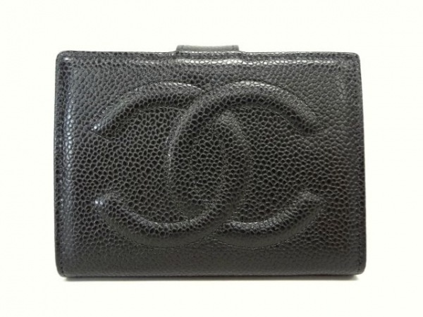 885b82501b58 CHANEL(シャネル) 2つ折り財布 キャビアスキン 黒 がま口/ココマーク キャビアスキン
