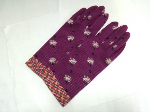 アンティパスト 手袋 7-9 レディース美品  ピンク×白×イエロー 花柄 コットン