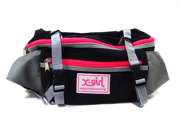X-GIRL(エックスガール) ウエストポーチ 黒×ライトグレー×ピンク ナイロン
