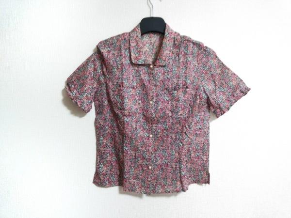 レリアン 半袖シャツブラウス サイズ9 M レディース ピンク×グリーン×マルチ 花柄