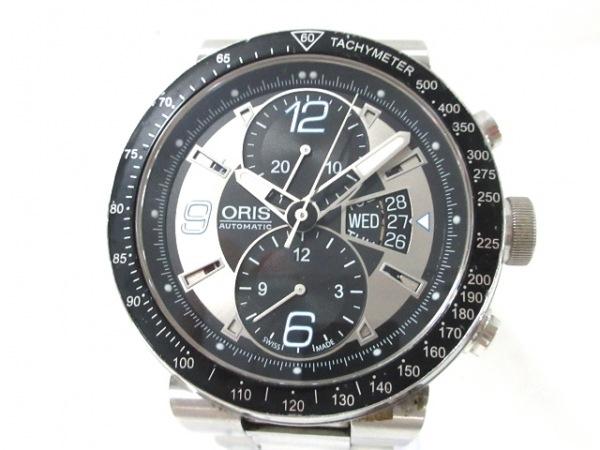ORIS(オリス) 腕時計 7614 メンズ クロノグラフ×裏スケ 黒×シルバー
