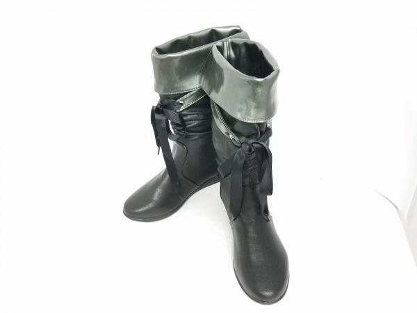 ホーキンス ブーツ XL レディース美品  黒×グレー NUOVO ナイロン×エナメル(合皮)