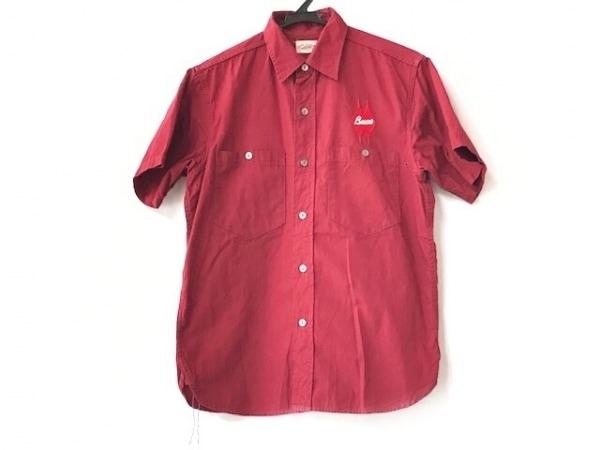 JOE MCCOY(ジョーマッコイ) 半袖シャツ サイズ15 メンズ ボルドー 刺繍