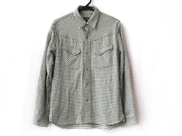 フラットヘッド 長袖シャツ サイズ40 M メンズ美品  ダークグリーン×白 千鳥格子