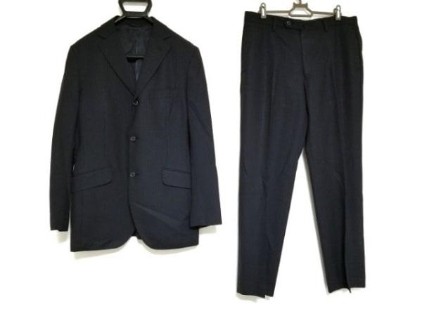 JUN MEN(ジュンメン) シングルスーツ サイズL メンズ 黒×グレー ピンストライプ