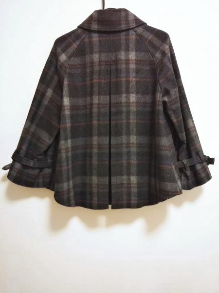 バッカ Pコート サイズ38 M レディース美品  黒×グレー×マルチ 冬物/チェック柄