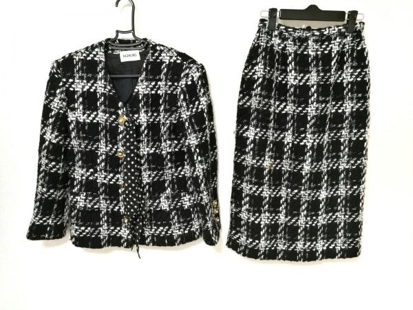INGEBORG(インゲボルグ) スカートスーツ レディース 黒×白 肩パッド/チェック柄