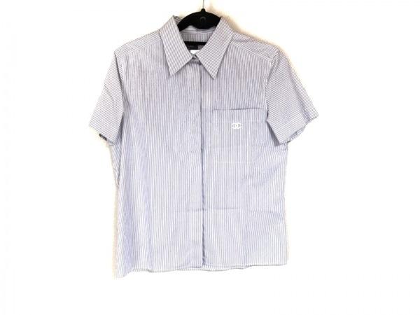 CHANEL(シャネル) 半袖シャツブラウス サイズ38 M レディース美品  P12816 グレー×白