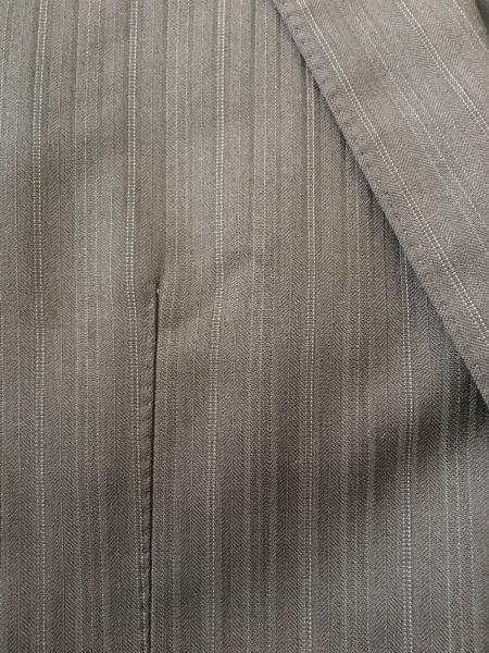 プラチナコムサ シングルスーツ サイズ46F メンズ 黒×グレー ストライプ