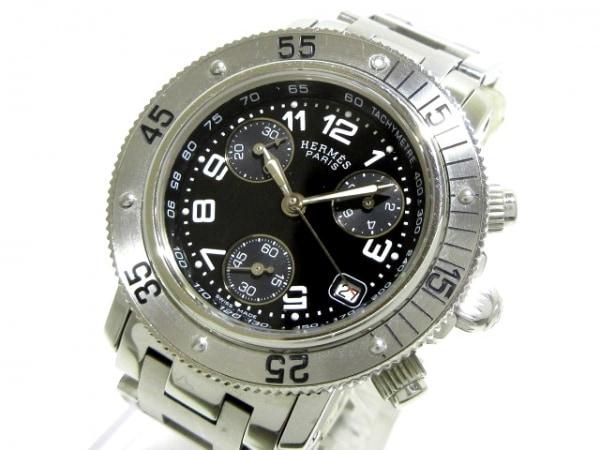エルメス 腕時計 クリッパーダイバークロノ CL2.310 レディース SS/クロノグラフ 黒