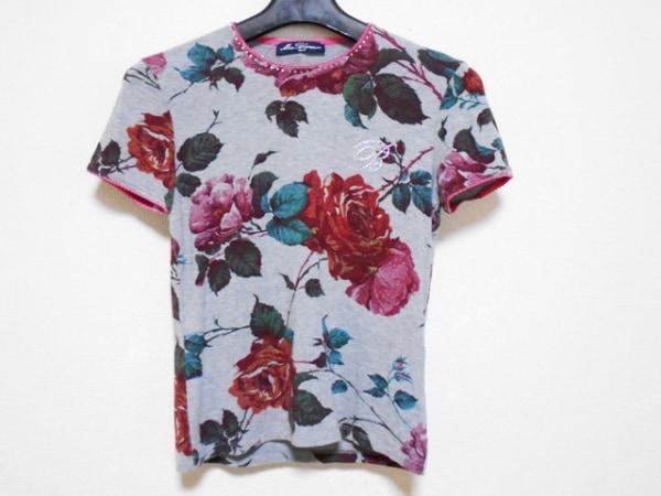 ミスブルマリン 半袖Tシャツ レディース グレー×マルチ JEANS/花柄/ラインストーン