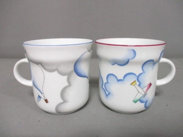 リチャードジノリ 食器新品同様  白×ブルー×マルチ ペアカップ 陶器