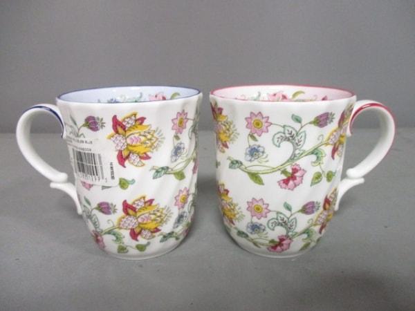 MINTON(ミントン) マグカップ新品同様  白×ピンク×ブルー 花柄/マグカップ×2 陶器
