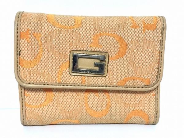 GUESS(ゲス) 3つ折り財布 オレンジ×シルバー ジャガード×レザー
