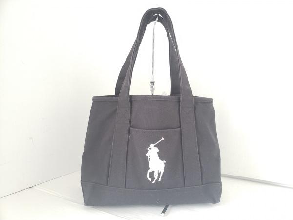 ポロラルフローレン トートバッグ ビッグポニー 黒×白 刺繍 キャンバス