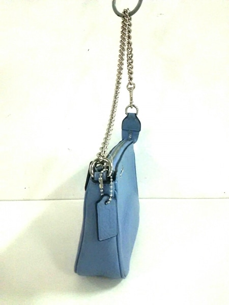 コーチ ハンドバッグ美品  ペブルドレザー ラージ リストレット F53340 ライトブルー
