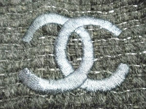 シャネル ストール(ショール) ダークグレー ココマーク カシミヤ×ウール×化学繊維