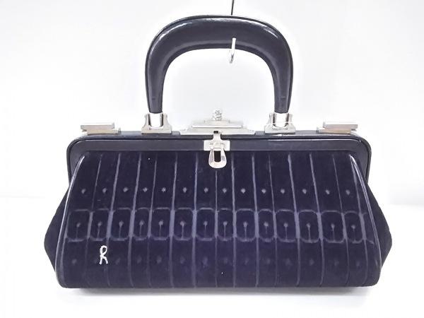 Roberta(ロベルタ) ハンドバッグ 黒 がま口 化学繊維