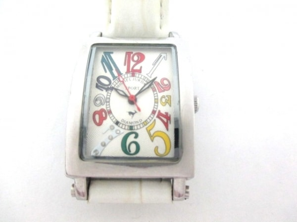 ミッシェルジョルダン 腕時計 SL-3000 レディース 5Pダイヤ シルバー×マルチ